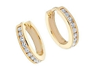 Hoop Earrings 0.60 Ct Diamond 14K Gold