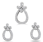 Diamond Pendant Set Designs 1.01 Ct Solid Gold Natural Certified