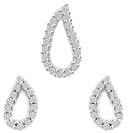 Diamond Pendant Earrings Set 0.70 Ct Solid Gold Natural Certified