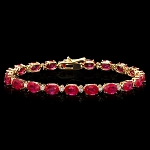 Diamond Gemstone Bracelet 2.00 Ct Ruby 9.50 Ct Solid Gold Natural Certified
