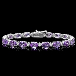 Gemstone Bracelet 2.05 Ct Diamond 9.25 Ct Amethyst Solid Gold Natural Certified