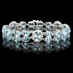 Bracelets for Women 2.50 Ct Diamond 20.00 Ct Sky Blue Topaz Solid Gold Natural Certified
