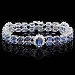 Diamond Gemstone Bracelets 3.50 Ct Blue Sapphire 18.50 Ct Solid Gold Natural Certified