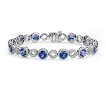 Gemstone Bracelet 5.50 Ct Diamond 8.50 Ct Blue Sapphire Solid Gold Natural Certified