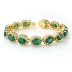 Diamond Emerald Bracelets 3.00 Ct Gemstone 11.00 Ct Solid Gold Natural Certified