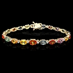 Diamond Gemstone Bracelets 2.00 Ct Multiple Tourmalines 10.50 Ct Solid Gold Natural Certified