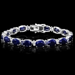 Diamond Gemstone Bracelets 1.60 Ct Blue Sapphire 9.00 Ct Solid Gold Natural Certified