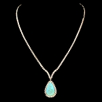 Gemstone Necklace 10.00 Ct  Natural Certified Diamond 3.60Ct Opal Solid Gold Anniversary