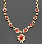 diamond Ruby & Gemstone Necklace 4.50 Ct Natural Certified Diamond Solid Gold Wedding