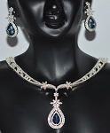 Wedding jewelry Set 11.00 Ct Natural Certified Diamond Necklace Set 9.00Ct Blue Sapphire Solid Gold