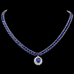 Diamond Gemstone Necklace 1.50 Ct Natural Certified Diamond & Iolite 32.20Ct White Gold Anniversary