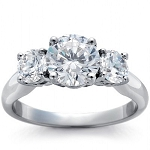 3 Stone Diamond Ring 3.00 ct Solid White Gold Solitaire Natural Certified