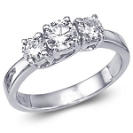 3 Stone Diamond Ring 2.25Ct Solid White Gold Natural Certified