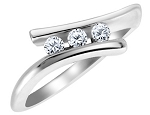 3 Stone Engagement Ring 0.60Ct Solid White Gold Solitaire Natural Certified