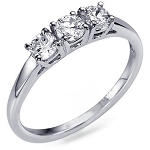 3 Diamond Engagement Ring 0.75Ct White Gold Solitaire Natural Certified