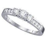 3 Diamond Ring 1.00Ct Solid White Gold Solitaire Natural Certified