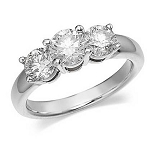 3 Stone Diamond Ring 2.75Ct Solid White Gold Solitaire Natural Certified