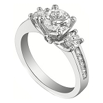 3 Stone Engagement Ring 2.00Ct Diamond White Gold Natural Certified