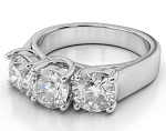 3 Diamond Engagement Ring 3.03Ct Solid White Gold Natural Certified