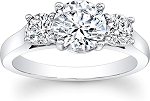 3 Stone Engagement Ring 2.00Ct Solid White Gold Natural Certified