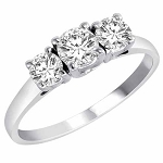 3 Stone Engagement Ring 1.50Ct Diamond Solid White Gold Natural Certified