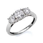 3 Stone Ring 2.00Ct Diamond Solid White Gold Natural Certified