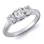 Three Stone Diamond Ring 1.25Ct Solid White Gold Natural Certified