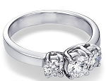 Three Stone Ring 1.50Ct Diamond White Gold Natural Certified