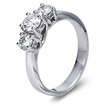 3 Diamond Ring 0.75Ct Solid White Gold Solitaire Natural Certified