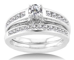 Beautiful Engagement Rings Set 1.35Ct Diamond White Gold Natural Certified