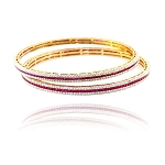 Single line diamond bangle Pair 6.50 Ct Ruby 5.50 Ct Solid Gold Natural Certified