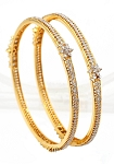 Diamond Eternity Bangle Pair 6.20 Ct Solid Gold Natural Certified
