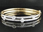 Single line diamond bangle Pair 3.50 Ct Solid Gold Natural Certified