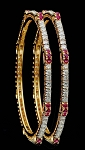 Single line diamond bangle Pair 4.50 Ct 3.00 Ct Ruby Solid Gold Natural Certified