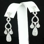 Gold Chandelier Earrings 2.75Ct Diamond Natural Certified Solid Gold