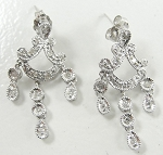 Chandelier Earrings Wedding 1.00Ct Diamond Natural Certified Solid White Gold