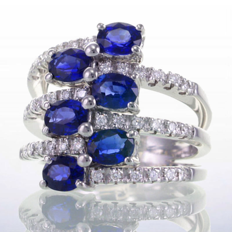 Diamond Cocktail Rings 1.00Ct Blue Sapphire 3.50Ct Solid White Gold Natural Certified