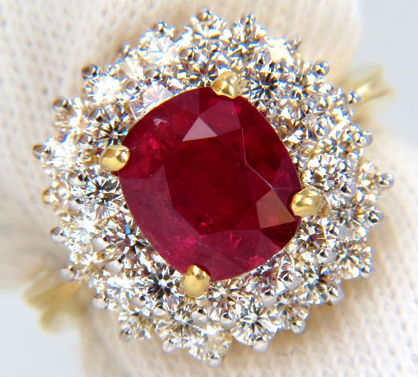 Vintage Gold Diamond Cocktail Ring 2.00Ct Ruby 2.60Ct Solid Yellow Gold Natural Certified