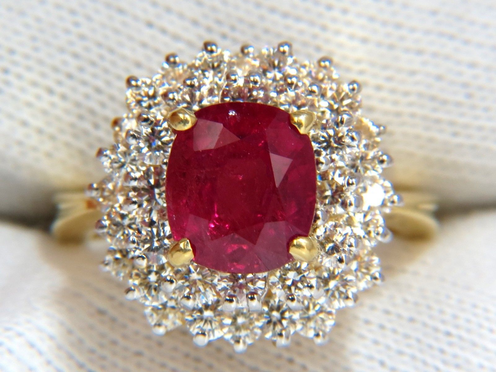 Vintage Gold Diamond Tail Ring 2 00ct Ruby 60ct Solid Yellow Natural Certified