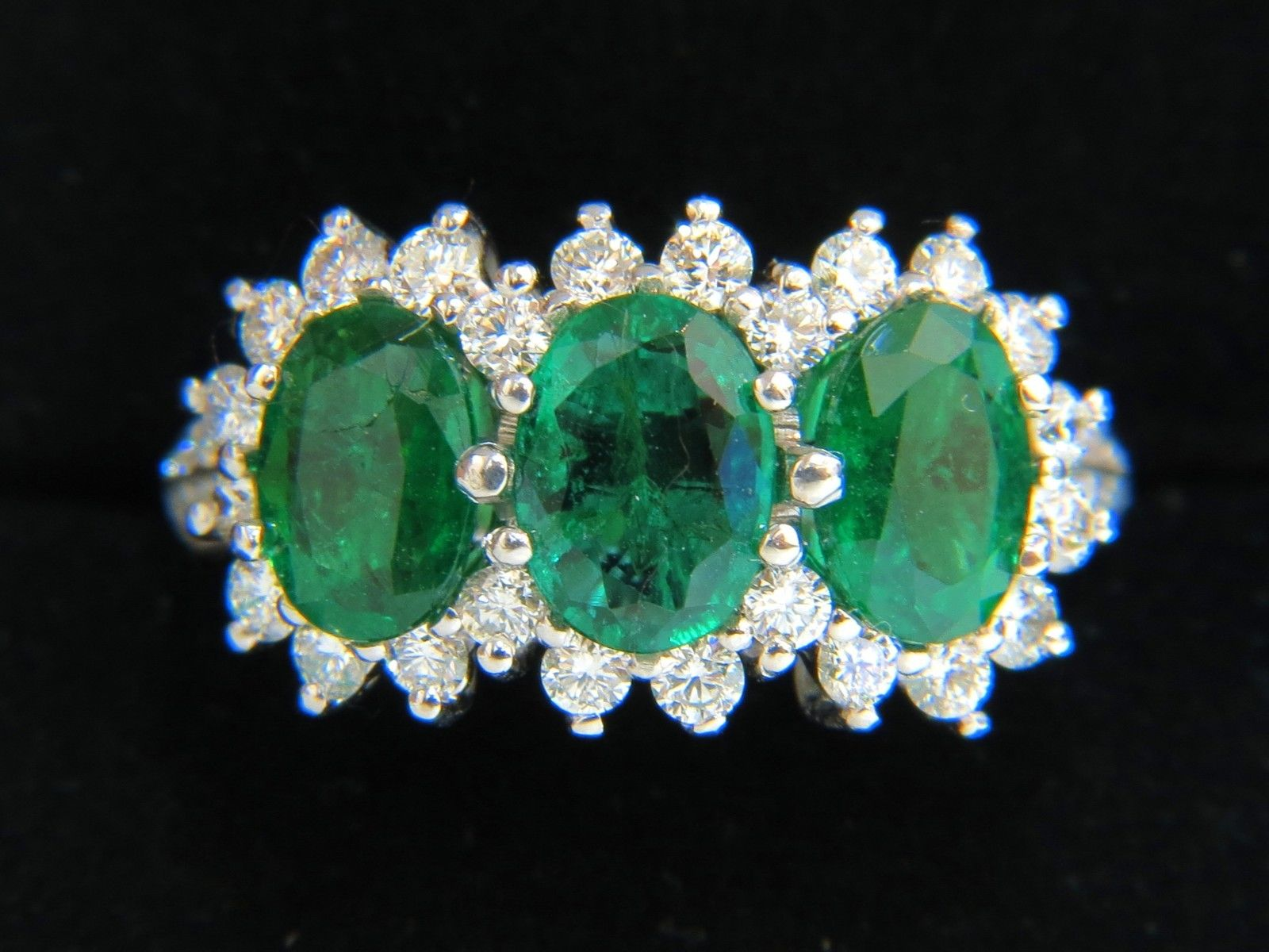 Diamond Cocktail Rings 0.80Ct Emerald 2.46Ct Solid White Gold Natural Certified