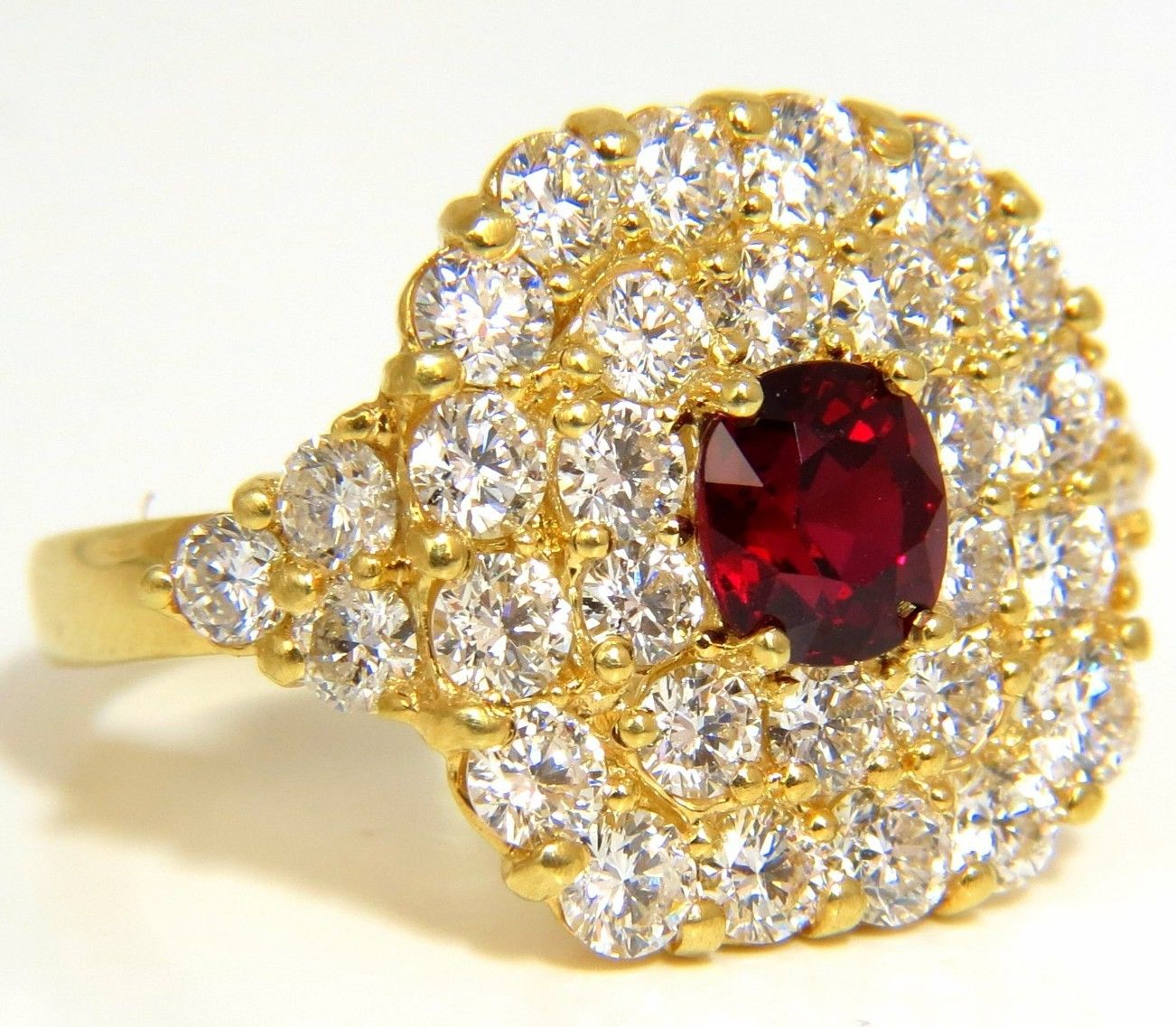 Cocktail Rings 1.65Ct Diamond 1.48Ct Ruby Solid Yellow Gold Natural Certified