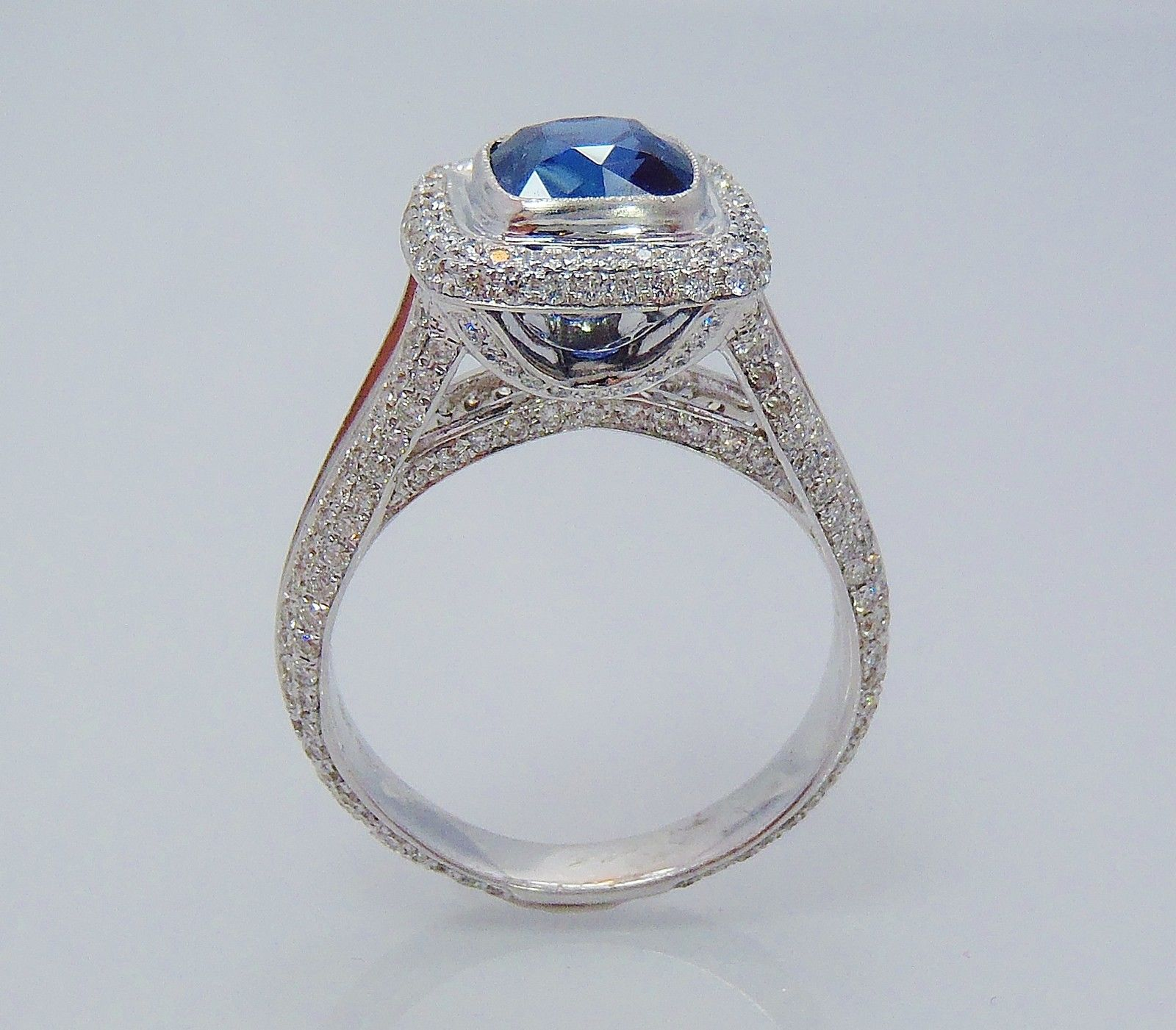 Diamond Cocktail Ring 1 75Ct Blue Sapphire 3 80Ct White Gold