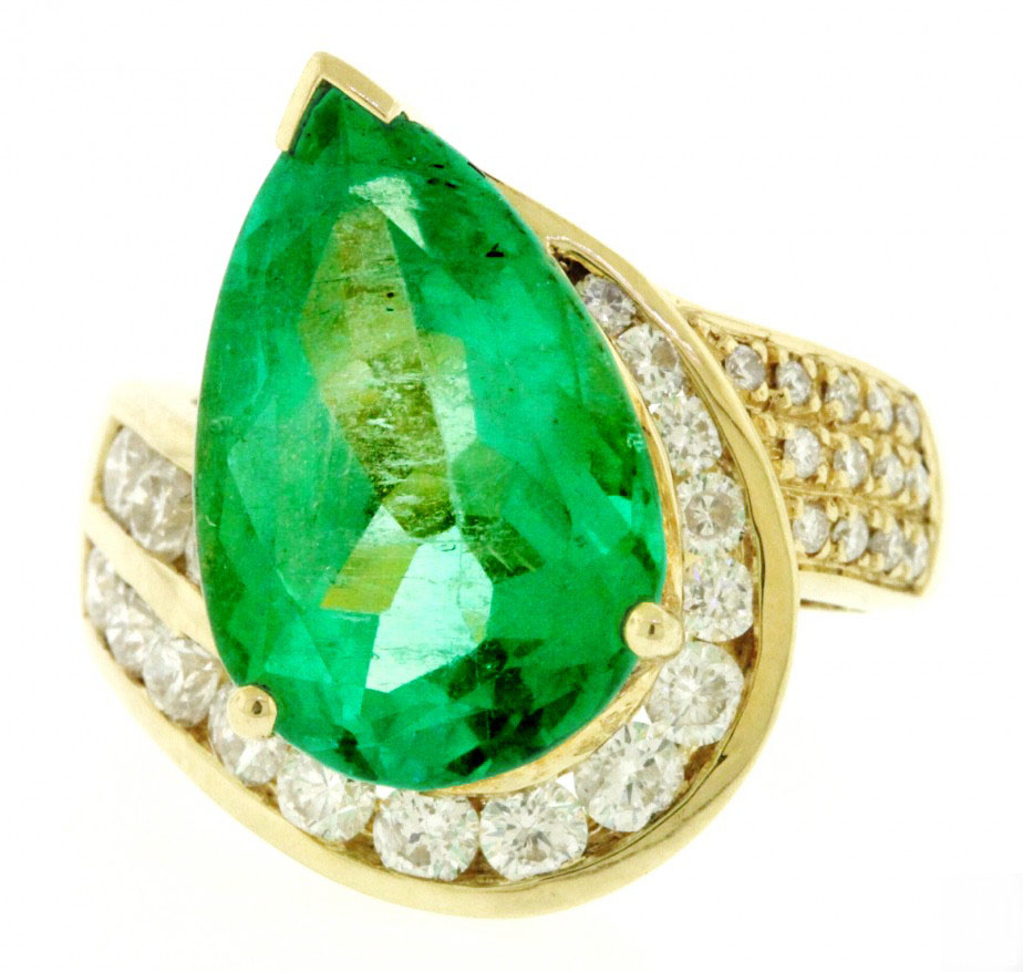 Vintage Gold Diamond Cocktail Ring 1.00Ct Emerald 4.50Ct Natural Certified