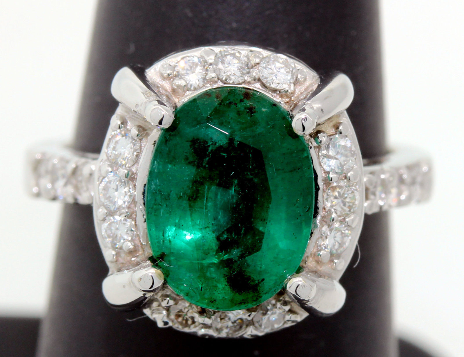 Diamond Cocktail Rings 0.54Ct Emerald 3.00Ct Solid Gold Natural Certified