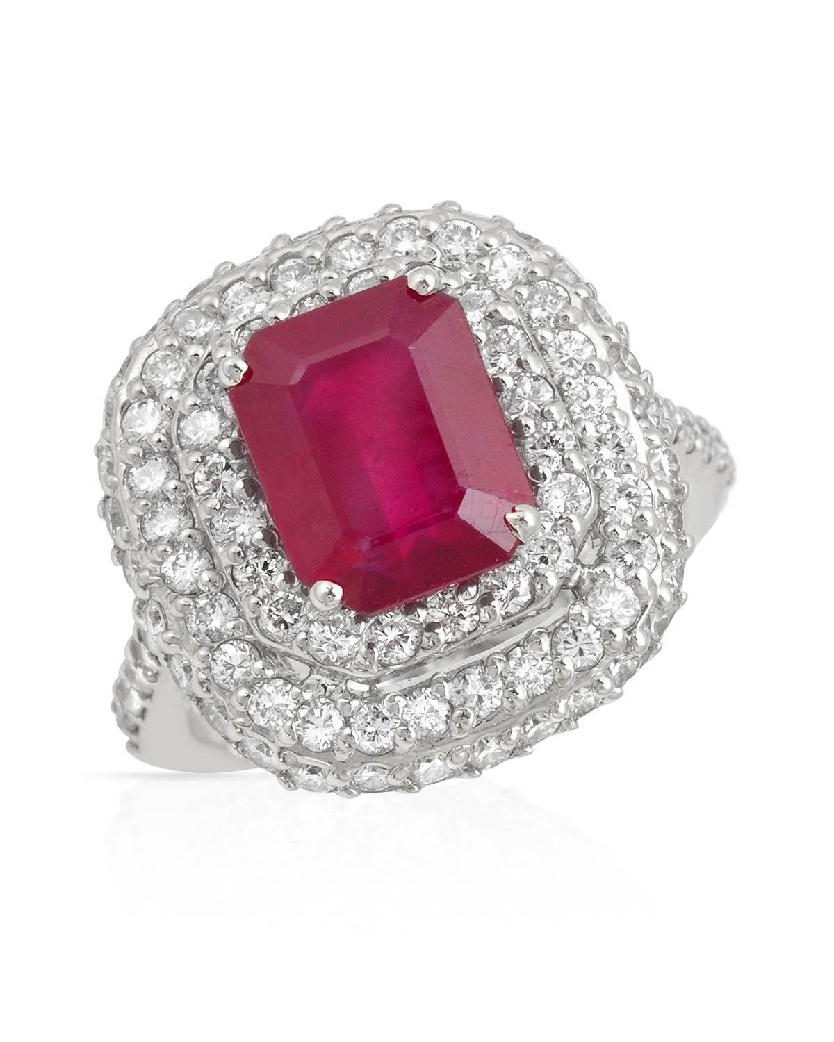 Vintage Cocktail Rings 2.00Ct Diamond 3.75Ct Ruby Solid Gold Natural Certified