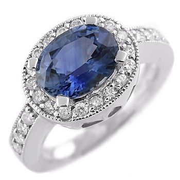 Vintage Gold Diamond Cocktail Ring 0.60Ct Blue Sapphire 3.20Ct Solid Gold Natural Certified