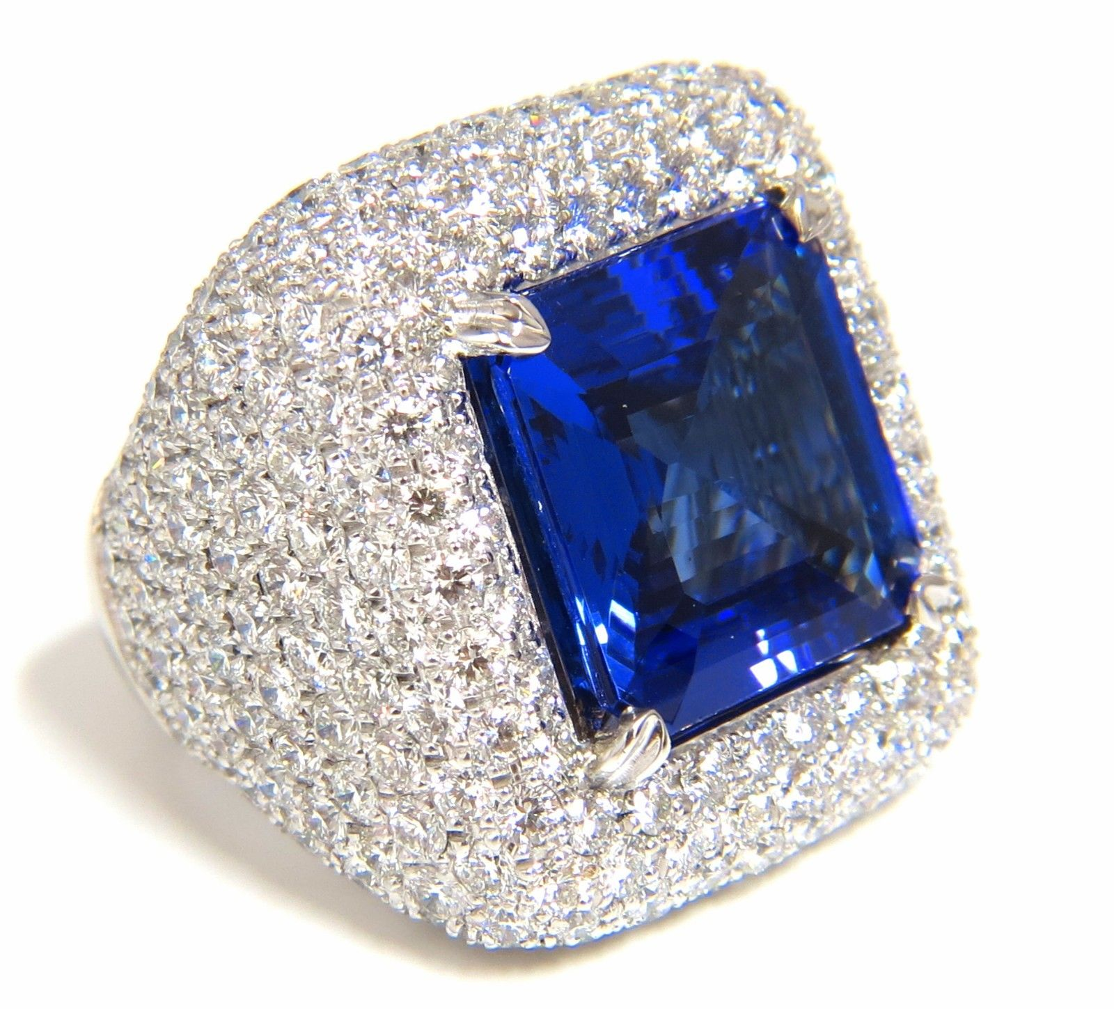 Vintage Cocktail Rings 4.25Ct Diamond 4.50Ct Sapphire Solid Gold Natural Certified