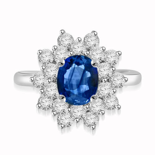 Diamond Cluster Cocktail Ring 1.00Ct Blue Sapphire 1.00Ct Solid Gold Natural Certified