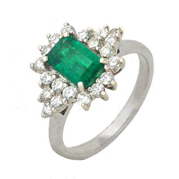 Cocktail Rings 0.65Ct Diamond 1.74Ct Emerald Solid Gold Natural Certified