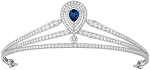 wedding headbandss 12.00Ct Certified Diamond Blue Sapphire 14K Gold Queen Crown
